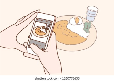 Hands taking pictures of food. hand drawn style vector design illustrations.