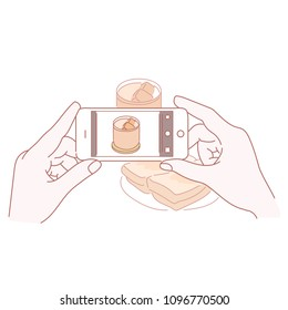 Hands taking pictures of food with a mobile phone. hand drawn style vector doodle design illustrations.
