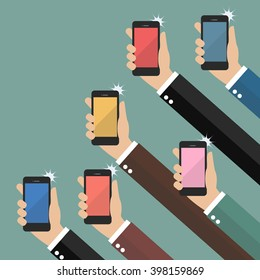 Hands taking pictures with smartphones. Flat style vector illustration