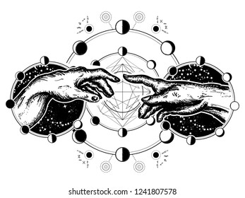 Hands tattoo Renaissance. Bog and Adam, symbol of spirituality, religion, connection and interaction