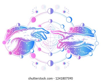 Hands tattoo Renaissance. Bog and Adam, symbol of spirituality, religion, connection and interaction.  Michelangelo God's touch