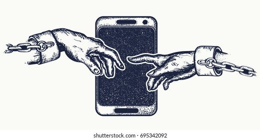 Hands tattoo and t-shirt design. Human hands touching with fingers. Symbol social networks, modern consumer society. Dependence on mobile phone