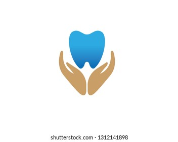 Hands that care for tooth and healthy mouth holding a tooth for logo design