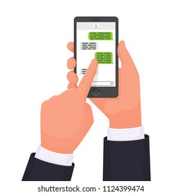 Hands that hold the smartphone. Online chat. Messenger. Communication in the network. sms message. Vector illustration in a flat style