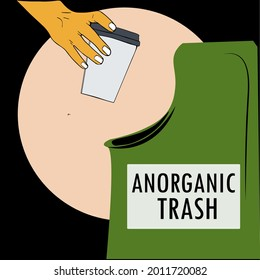 hands throw garbage in the inorganic trash