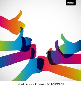 Hands with thumb up, like social media background, web network symbol, vector finger sign, icon design illustration.