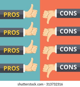 Hands with thumbs up and thumbs down. Pros and cons concept. Modern flat design graphic concepts for web banners, web sites, printed materials, infographics. Creative vector illustration