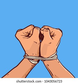 Hands Tied With Rope Isolated Colorful Sketch On Blue Background Vector Illustration