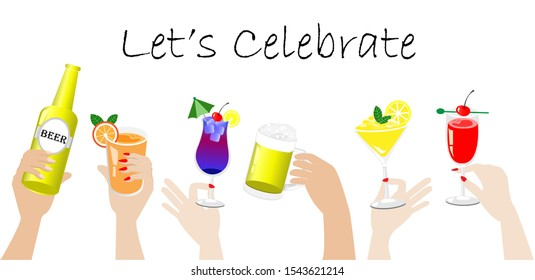 Hands toasting beers and decorated colorful tropical refreshment cocktails. Isolated on white background. Vector Illustration. Idea for festival, celebrations and cocktails party in special occasion..