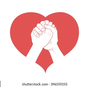 hands together in heart