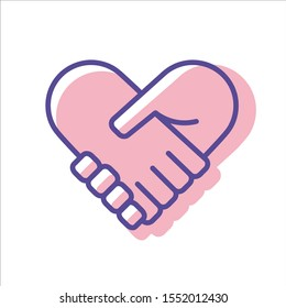 Hands together. Heart symbol. Vector illustration. Line icon isolated on white background