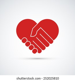 Hands together. Heart symbol. Vector illustration