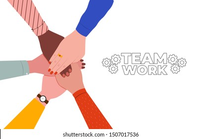 Hands together. Symbol of teamwork, partnership, agreement, social community and unity. People putting their hands together. Top view. Vector flat illustration