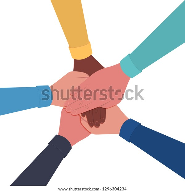 Hands Together Symbol Teamwork Unity People Stock Vector Royalty Free 1296304234