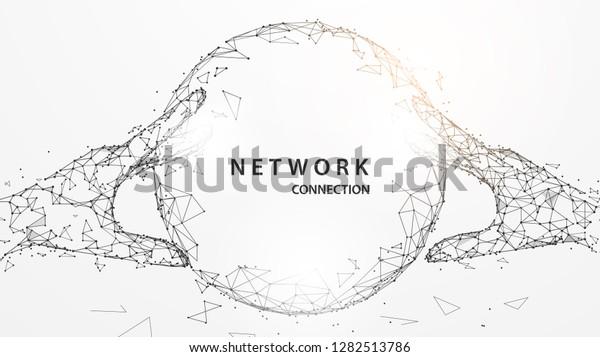 Hände, die digitale globale Formularlinien, Dreiecke und Partikeldesign berühren. Illustrationsvektor