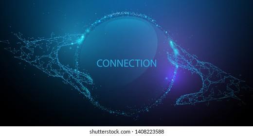 Hände, die das globale Verbindungskonzept berühren. Futuristische Technologie. Linien, Dreiecke und Partikeldesign. Illustrationsvektor