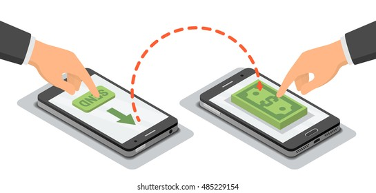 Hands touching smartphones which sending and receiving money wireless, vector isometric illustration