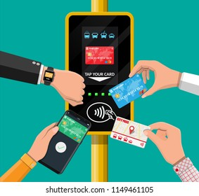 Hands with transport card, smartphone, smartwatch and bank card near terminal. Airport, metro, bus, subway ticket validator. Wireless contactless cashless payments, rfid nfc. Flat vector illustration