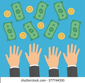 Hands trying to reach money. Need for money concept. Reaching hands with falling money bills and golden coins. Flat design