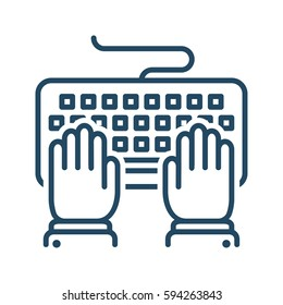 Hands Typing on Keyboard vector icon in meaning Computer Programming