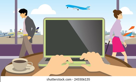 Hands typing on a laptop over looking airport lounge