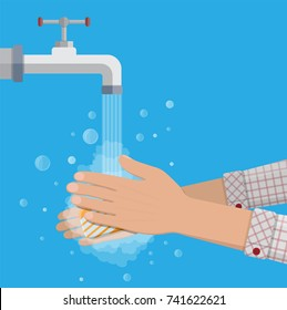Hands under falling water out of tap. Man washes hands with soap, hygiene. Vector illustration in flat style