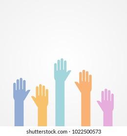 Hands up. Flat design, vector illustration
