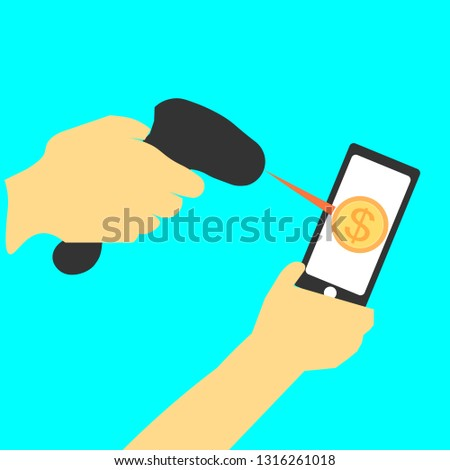 Hands Using Barcode Scanners Scan Mobile Stock Vector