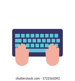 hands using keyboard flat style icon vector illustration design