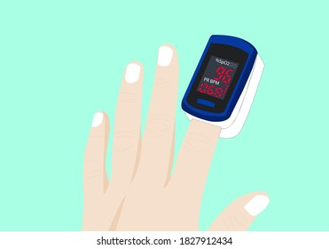 hands using an oximeter and indicator information on the oximeter