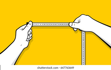 Hands using tape measure