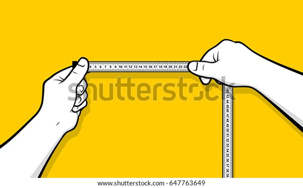 Hands using tape measure