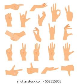 Hands in various gestures. Flat design modern vector illustration concept.