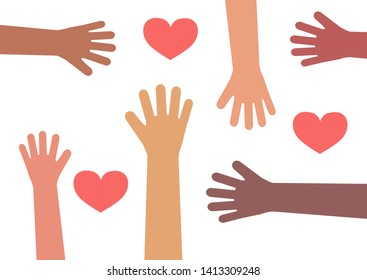 The hands of various people reach for a heart on a white background. Vector illustration.