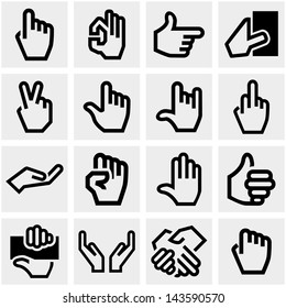 Hands vector icons set on gray.
