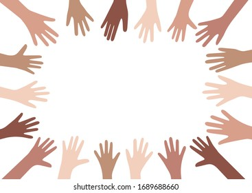 Hands up vector illustration with different skin colors. Raised hands vector concept. Volunteering charity, votes and donation. Frame with hands