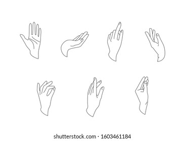 Hands vector set in simple flat line style isolated on a white background. Various gestures, poses of human hand in different situation. Vector illustration.