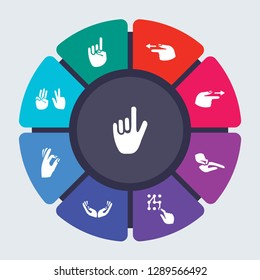 hands vector template for infographics. Business concept with 9 options, steps, parts, segments. Banner infographic cycling diagram, round chart, Pointing up, hand, Point to Left icons
