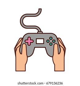 hands with video game control icon