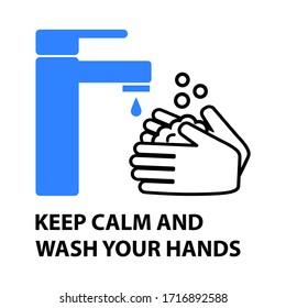 Hände waschen flache Design Vektorillustration Illustration. Phrase: HALTEN SIE DEN KALM UND WASCHEN SIE IHRE HÄNDE.