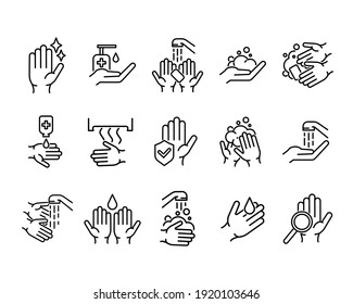 Hands washing flat icon set. Tutorial pictogram for web. Line stroke. Isolated on white background. Vector eps10. Water stream on the hands.