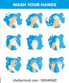 Hands washing icons set. Wash your hands instructions for soap use and antibacterial hygiene medical hospital or kindergarten flat infographics or sign label template