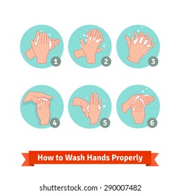 Hands washing medical instructions. Soap and bubbles. Flat vector icons.
