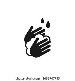 Hands washing with soap foam and water drops black isolated vector icon.