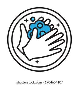 hands washing sticker half line style icon vector illustration design