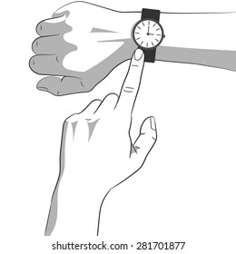 Hands with watch. Smart watch on right hand icon, arms pointing on time. Time is money. Vector illustration, black, white, grey
