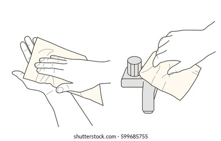 Hands wiping and tap closing with paper towel, vector illustration, instruction sign