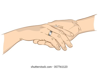 Hands of a woman with a ring on the palm of man close up