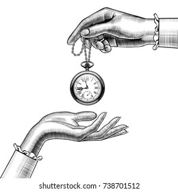 Hands of women with a retro pocket watch. Vintage stylized drawing. Vector Illustration