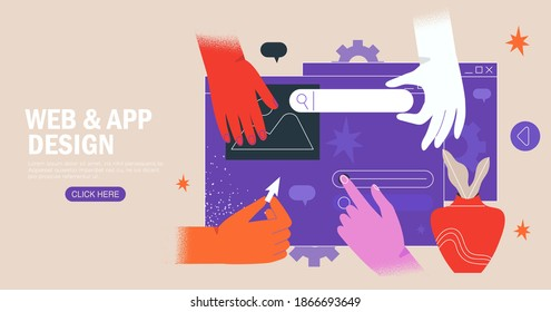 Hands are working on website or application, ui ux design and programming. Team of designers doing research and prototyping. Web studio or mobile application concept for banner, ads, landing page.